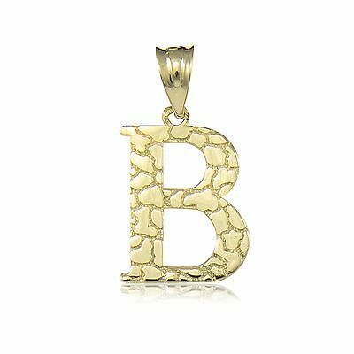 10K Solid Yellow Gold Nugget Initial Letter Pendant -A-Z Alphabet Necklace Charm