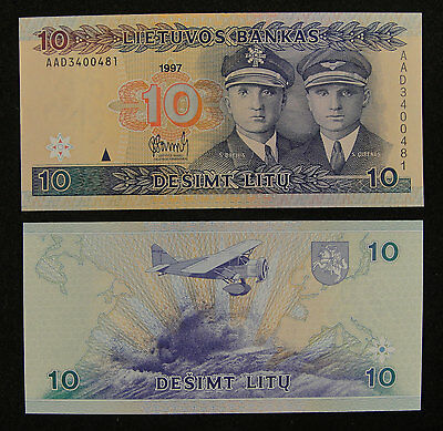 Lithuania Paper Money 10 Litu 1997 UNC