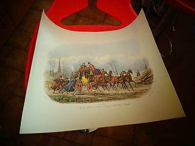 Lithographie actuelle Chevaux Dilligence Mail Coach Racens Snowhill 1835 London
