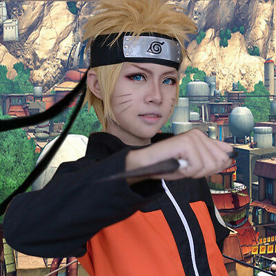 Naruto Uzumaki Naruto Gold Cosplay Costume Party Wig + Free Wig Cap + Headband