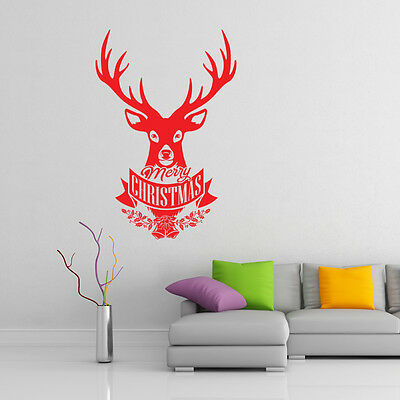 Christmas stag wall stickers barber shop window xmas sign art xm5