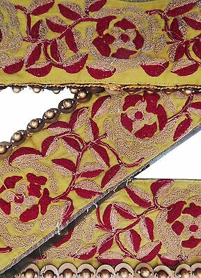 Vintage Sari Border Antique Used Hand Beaded Indian Trim 1YD Ribbon Yellow Lace