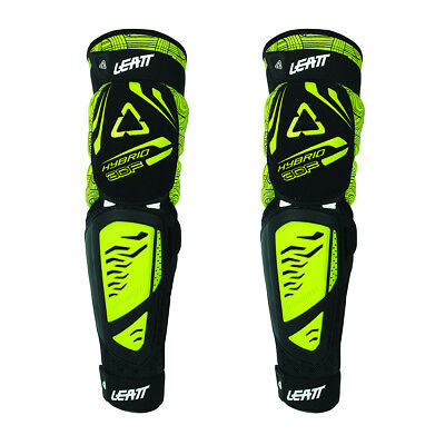 Leatt MX Gear 3DF EXT Adult Black Lime Hybrid Motocross Dirt Bike Knee Guards
