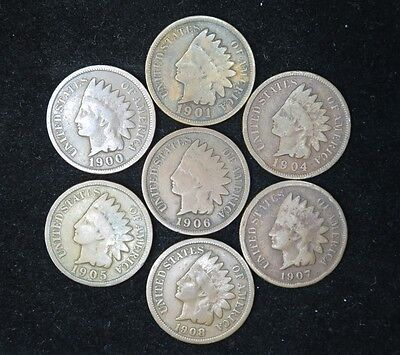 Indian Head Cents Set of 7 1900-1908 Circulated Condition [L-323]