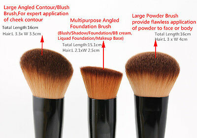 Professional 3Pcs Set Make-up Brushes Face Powder Blusher Foundation Makeup Tool