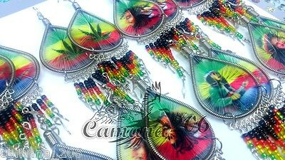 Lot Of 100 Pairs Thread Earrings With Rasta Beads Jamaica Reggae Bob Marley