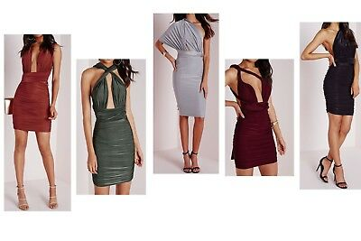 Women Ladies Multiway Slinky Bodycon Ruched Wrap Do It Anyway Party Dress 8-14