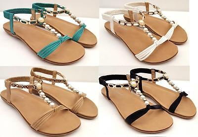 Ladies Dress Pearl Bead SANDALS Flats Shoes ANKLE STRAP Beach Wedding Party New