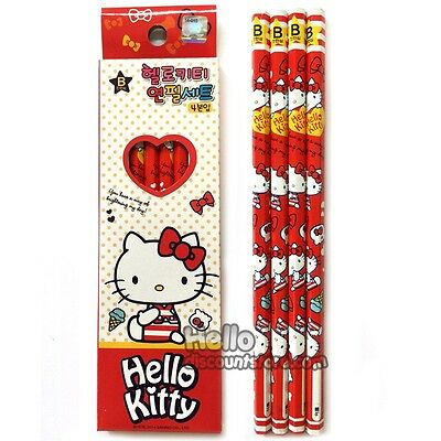 Hello Kitty 4pcs School Pencil Gift Stationery Set : RED