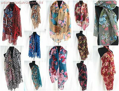 lot of 10 vintage animal print flower scarf shawl sarong fashion clothing