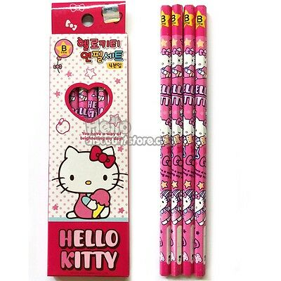 Hello Kitty 4pcs School Pencil Gift Stationery Set : PINK