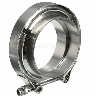 """3"""" Inch Stainless Steel V-Band Clamp with 2 Flange Kit Turbo Exhaust Down Pipe"""