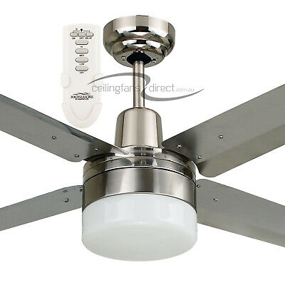 """48"""" Stainless Steel Martec Trisera Ceiling Fan With Light + Remote Fst1234Scr"""