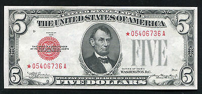 Fr. 1528* 1928-C $5 Five Dollars *star* Red Seal United States Note Gem Unc Rare