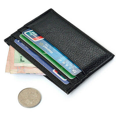 New Black Slim Leather Credit Card Case Holder Mini Wallet ID Purse Bag Pouch