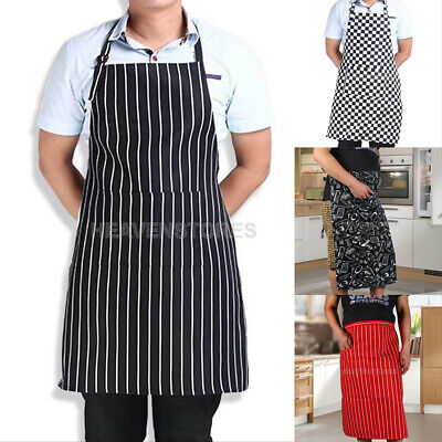Mens Womens Cafe Restaurant Chef Kitchen Cooking Cook Bib Aprons + 2 Pockets New