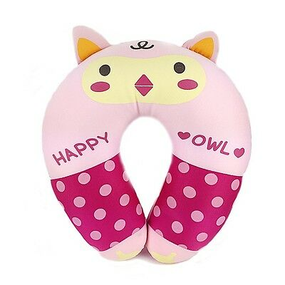 Happy Animal Neck Cushion Comfortable Neck Support Travel Pillow : Pink Owl