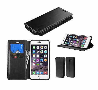 BLACK Leather Flip Wallet Hard Case Thin Cover Pouch For Apple iPhone 7 6S PLUS