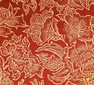 PETER FASANO Woodcut Vine Spice Rust Linen Remnant New