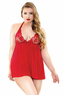Sexy Pleated Halter Tie Lace Cup Chemise Babydoll W/G-string 1X/2X 3X/4X 169