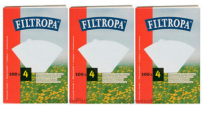 Filtropa White Coffee Filters  #4 - 300 Count  / 3 Boxes of 100 Filters