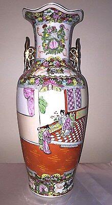 "Antique Chinese Famille Rose Vase Late 1800 Early 1900 Exportware Large 24"" Tall"
