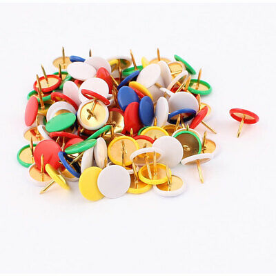 Office Plastic Coated Round Thumb Tacks Push Pins Assorted Color 100pcs