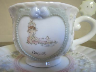 "Precious Moments AUGUST Birthday Month Cup and Saucer  ""Summer Fun"" ~ Rare 1994"