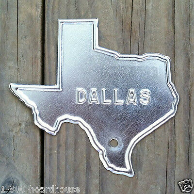 10 BULK Original TEXAS DALLAS Silver Steel LICENSE Plate Car Auto TOPPER 1940s