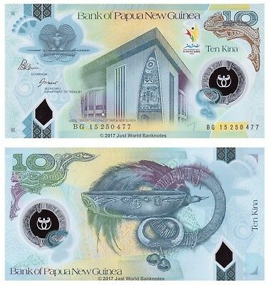 Papua New Guinea 10 Kina 2015 Polymer P-New Mint UNC Uncirculated Banknotes