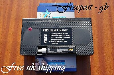 Vhs & S-Vhs Video Wet Or Dry Head Cleaner/ Cleaning Tape/ Cassette -  With Fluid