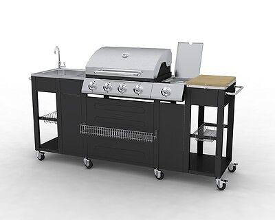 New Bbq Barbecue 4 Burner Gas Side Burner Grill Garden Kitchen Black Silver