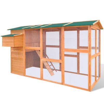 New Chicken Cage Hen House Small Animal Coop Carrier Large Space Wood Waterproof