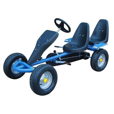 Blue Pedal Go-Kart Ride-On Car 2 Seater Kids & Junior