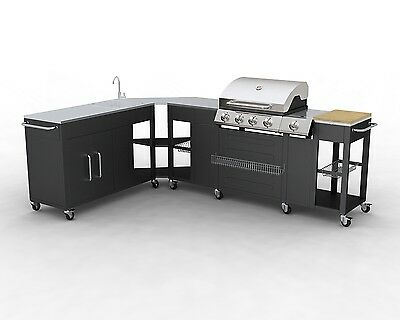 New Gas Bbq Barbecue Outdoor Kitchen Stainless Steel 5 Burners Side Burner