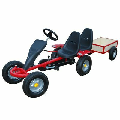 Red Pedal Go-Kart Ride-On Car 2 Seater Kids & Junior Trailer