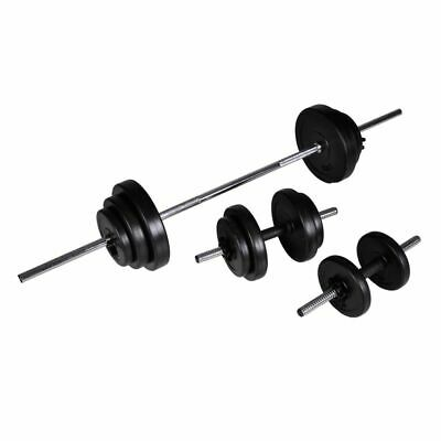NEW Barbell + 2 Dumbbell Set 30,5kg W/ 12 Weight Discs Workout Homegym Fitness