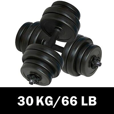 New Dumbbell Bar Plastic Covered Weights Gym Fitness Biceps Workout 30Kg