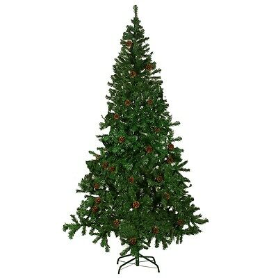 New Christmas Tree with 12 pcs Pine Cones Xmas Holiday Decoration 210 cm Green