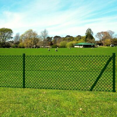 New Chain-Link Fence Set with Posts Spike Anchors & Other Fittings 1,0 x 25 m