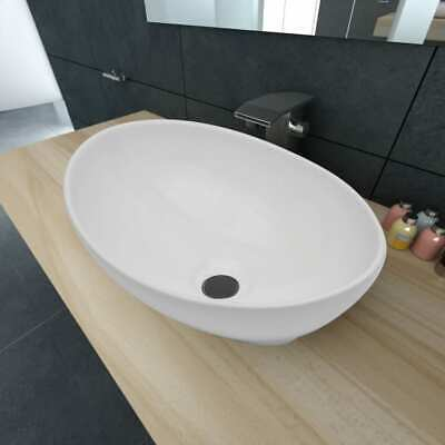 Bathroom Ceramic Basin Vessel Sink Wash Basin Oval Shaped White 40 x 33 cm