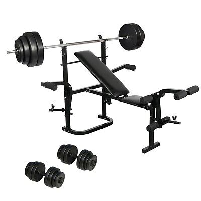 New Folding Weight Bench Dumbbell Barbell Set Home Gym Body Training Strength