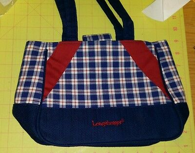 Longaberger homestead blue and red plaid purse