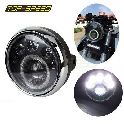 "Motorcycle Side-Mount Black LED Headlight 7""  For Honda CB Classic Racer Bobber"