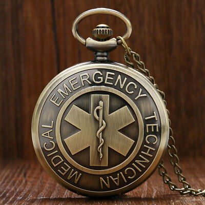 Emergency Technician Medical Pattern Pocket Watch Necklace Chain Round Dial