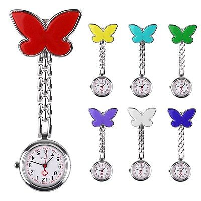 Nurses Brooch Stainless Steel Fob BUTTERFLY Metal Tunic Medical Pocket Watch UK