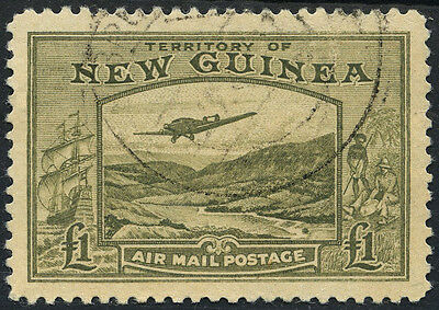 New Guinea SG 225 1939 Air Mail £1 olive-green. Used. Cat £150