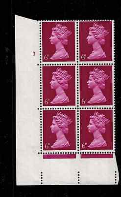 1969 MACHIN lLV SCARCE SHADE 6d MAGENTA cylinder  BLOCK 6 STAMPS SG 736ea