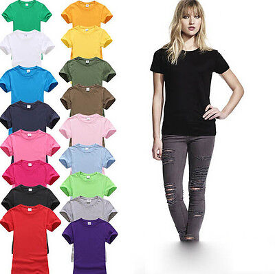 Ladies Womens Plain Short Sleeve T-Shirt Valueweight Tee Vest Top Size 8-22