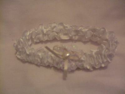 Ivory Garter with Cream Bow Glitter & Heart Shaped Faux Pearl
